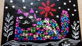 Котик. Авторская картина в оригинальной технике. 13*18 см