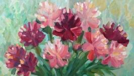 Цветочный натюрморт ′Пионы′. Живопись. Масло.