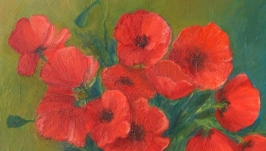 Цветочный натюрморт ′Маки′. Живопись. Масло.