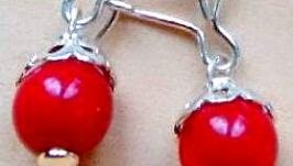 серьги коралловые - ягодка