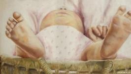 Картина маслом 30х40 Младенец в корзинке