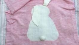 вязаный детский плед-зайка