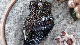 Брошь ′Сова′ бисер, кристаллы Swarovski
