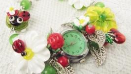 ′Лютики-цветочки′ женские наручные часы с бусинами лэмпворк