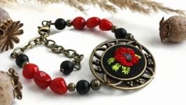 Красный браслет с кораллом Черный браслет из агата из натуральных камней