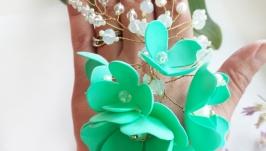 Веточка для волос в мятном цвете