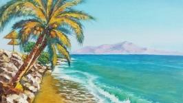 Картина маслом Теплые волны Тайланда 50 х 40 см, бирюзовый