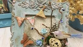 Рамка - пано с композицией в винтажном стиле. Пасхальный декор для дома.