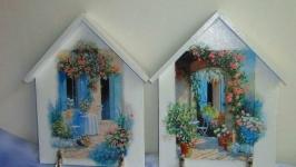 Ключница -домик в стиле ′Средиземноморский дворик′,вешалка для ключей