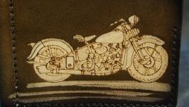 Кожаный зажим Мотоцикл коричневый