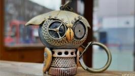 Брелок для ключей ′Биомеханическая сова′ Подарок в стиле стимпанк