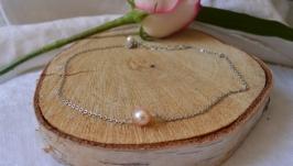 Чокер - цепочка с натуральной розовой жемчужиной ′Ия′