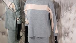 Двухцветный костюм мелкой вязки oversize