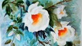 Картина акварель ′Сияние белых цветов′ 40 х 30 см