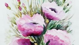 Картина акварель цветы ′Сиреневый букет′40 х 30 см