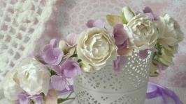 Віночок Білі піони та фіолетова гортензія