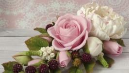 Заколка Піон і троянда