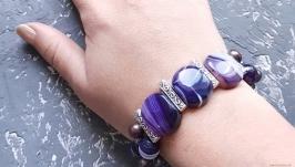 Веснаня колекція браслет з натуральних перлів та кварцу