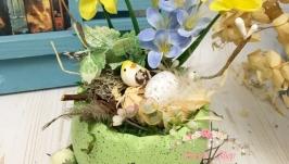 Пасхальная композиция декор для дома Гнездо с яйцом.