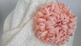 Рожево-карамельна хризантема. Японський натуральний шовк (хаботай), оксамит