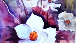 Картина акварель ′Цветочная фантазия′