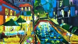 Абстракция,арт «Ночное кафе у моста»