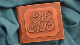 Кожаный кошелек с инициалами