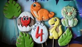 Динозаври. Пряники - топпери на торт, декор