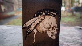 Кожаная обложка на паспорт Череп (Bobl9a)