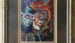 Картина «Маски»,ручная работа, вышивка.