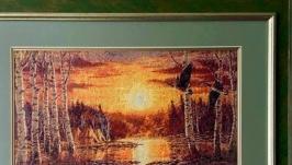 Картина «Закат и утки»,гобелен ручной работы.