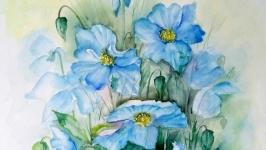 Картина акварель ′Голубые клематисы′ цветы 40 х 30 см