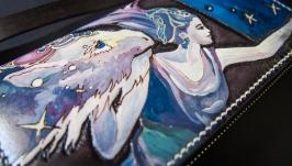 Кожаный кошелек Фентези на змейке