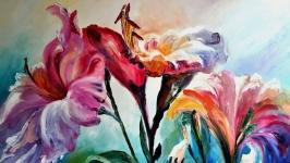Картина маслом, «Лилии»,  живопись мастихином