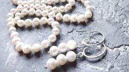 Комплект: намисто довге з натуральних перлів та срібні сережки