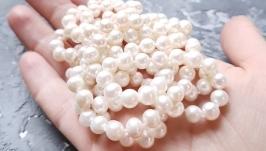 Довге намисто з натуральних перлів довжина на замовлення