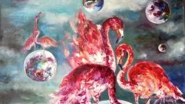 Картина маслом «Розовые Фламинго»,  60х50см, космос