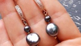 Сережки з натуральними перлами Кейши у позолоті