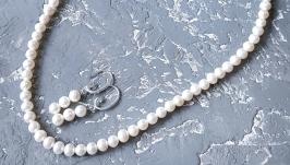 Комплект прикрас з натуральними перлами намисто сережки