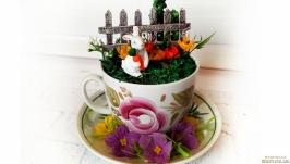 Оригинальный подарок Топиарий Чашка с кроликом