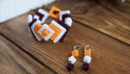 Комплект  браслети і сережки з бісеру