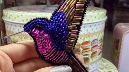 Брошь птица колибри