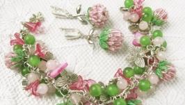 Комплект (браслет и серьги) ′Клевер′