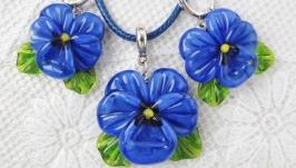 ′Синяя птица′ комплект (кулон и серьги) с бусинами лэмпворк