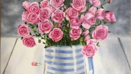 Картина маслом 40х40 Розы