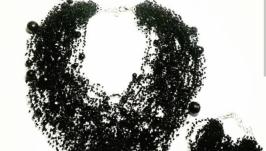Воздушное колье черное Вечернее колье Подарок женщине Шикарное украшение