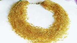 Воздушное колье золотое Чешский бисер Подарок Купить пышное колье