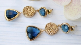 Серьги ′Монтана с золотом′ ювелирное стекло позолота