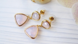 Серьги ′Розовый опал′ ювелирное стекло позолота