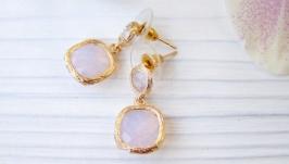 Серьги ′Розовый опал квадрат′ ювелирное стекло позолота